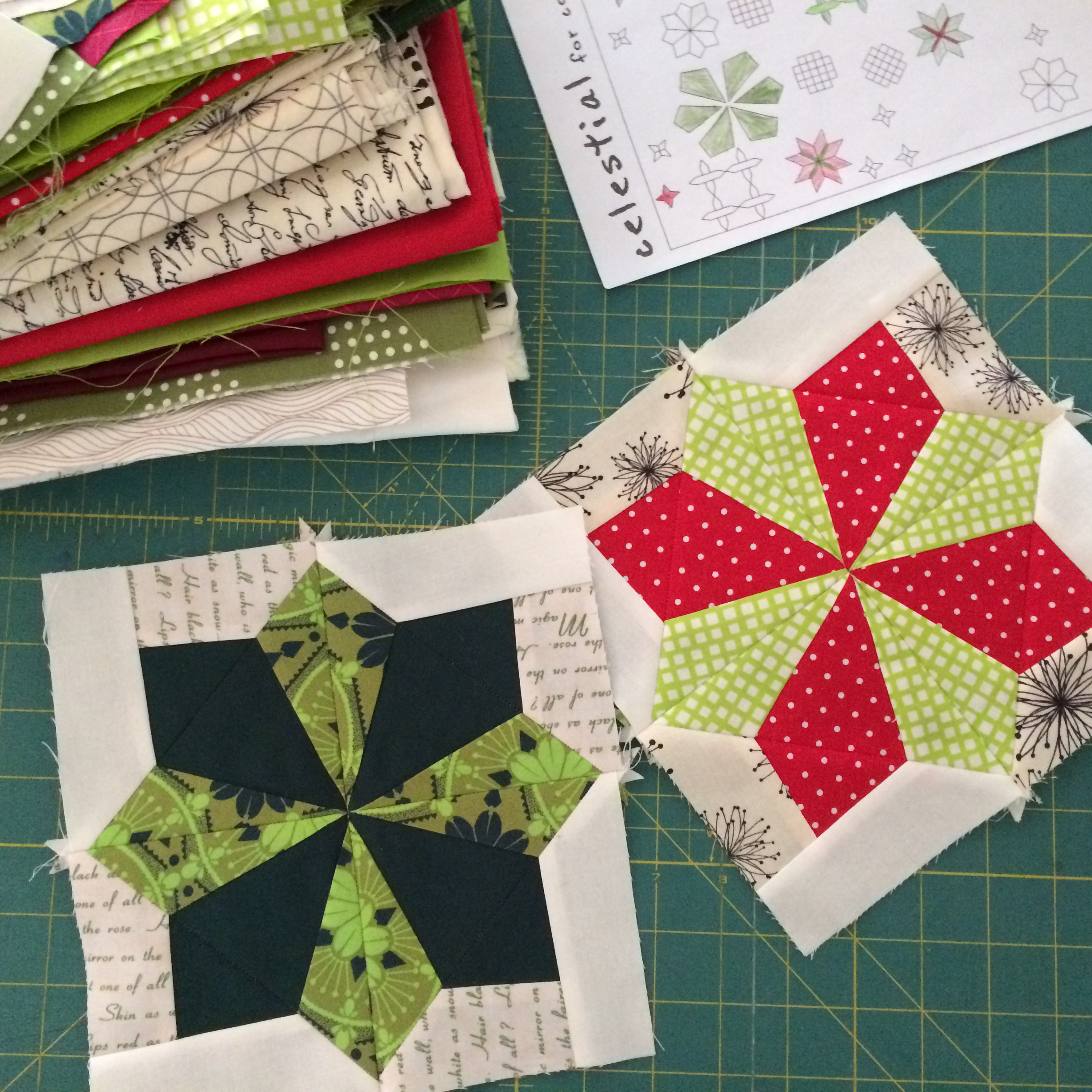 Working on a christmas celestial quilt pile o 39 fabric for Celestial pattern fabric