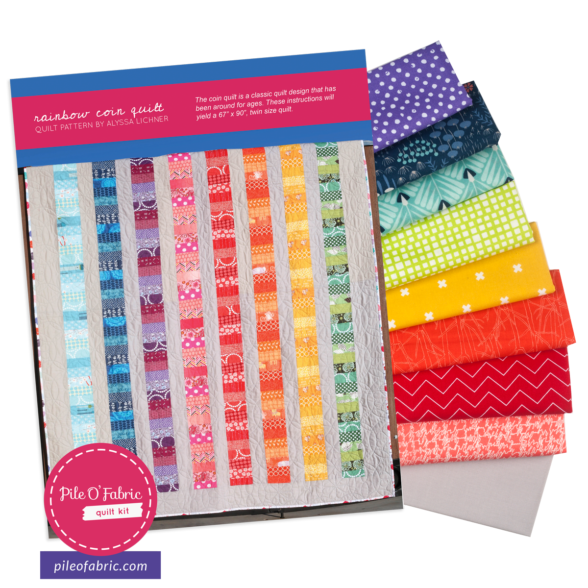 Rainbow Coin Quilt Kit