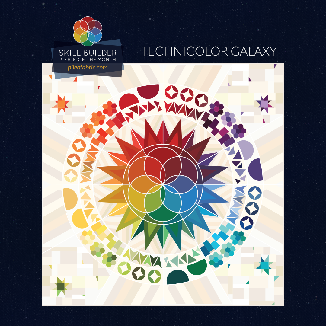 Technicolor galaxy skill builder bom from pile o for Galaxy quilt fabric