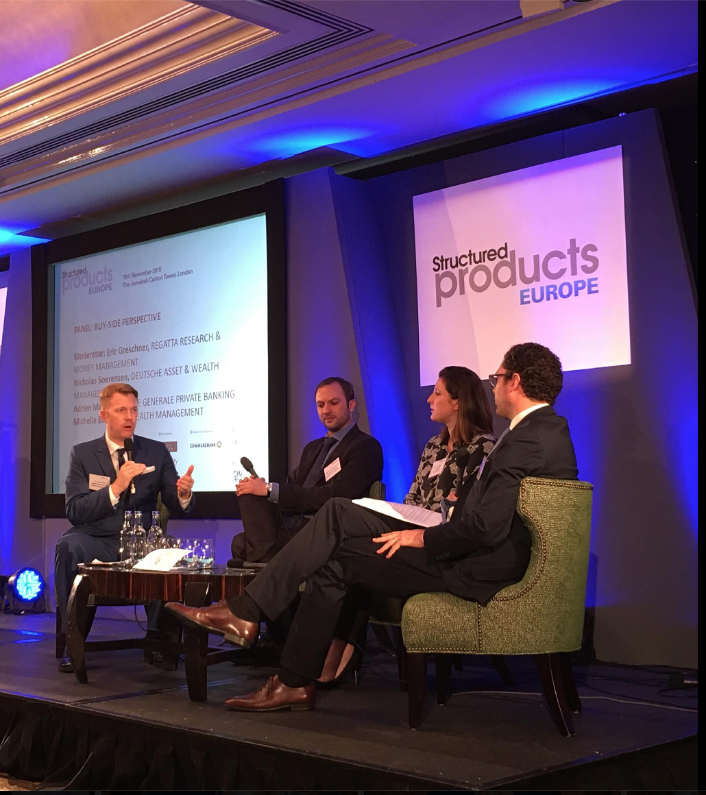Eric Greschner, Regatta Research & Money Management, LLC moderating European investment conference panel discussion, London (Societe General, Deutsche Bank, and Barclay's)