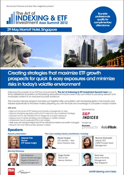 Eric Greschner spoke on ETFs , indexing, and investing in commodities, The Art of Indexing & ETF Investment Summit Asia, Singapore