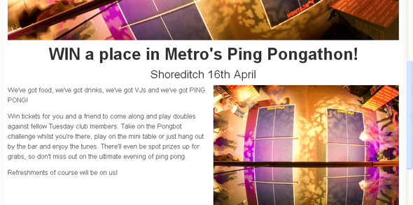Metro launches New 'Tuesday Club' - Pongathon  April 16th