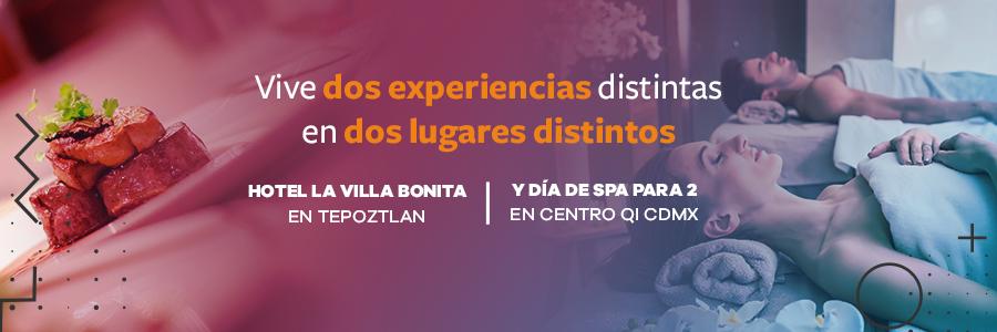 Hotel La Villa Bonita en Tepoztlán y Día de Spa para 2 en Centro Qi CDMX