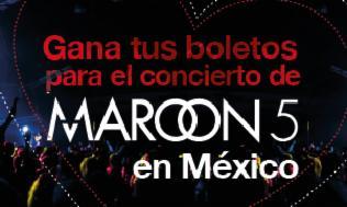 Gana  dos boletos para Maroon 5 en México