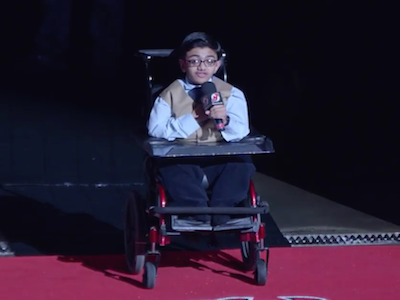 Osteogenesis Imperfecta Teen Sings National Anthem at Devil's Game