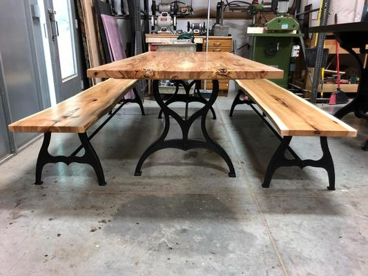 "Hickory Table with Antique ""Cincinnati"" Legs"