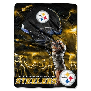 "The Northwest Company Pittsburgh Steelers 60""x80"" Royal Plush Raschel Throw Blanket - Sky Helmet Style at Sears.com"