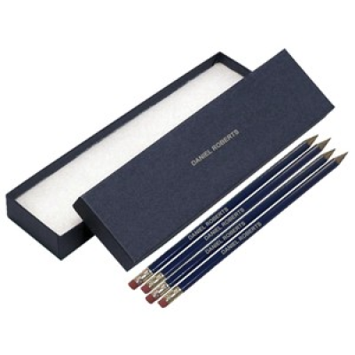 12 blue pencils with silver in a blue box