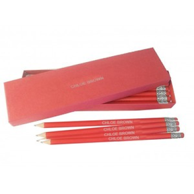 12 red pencils with silver in a red box