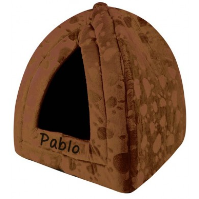 Brown triangle pet bed