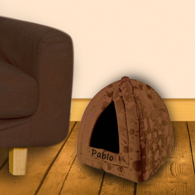 Brown triangle pet bed..