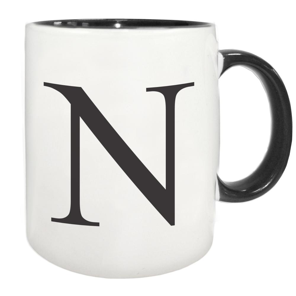 Black monogram initial mug with black inside