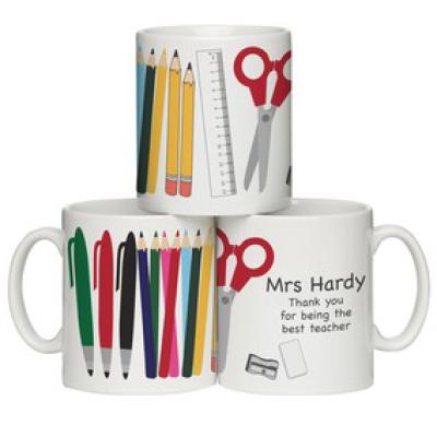 Teacher mug with personalised pencils