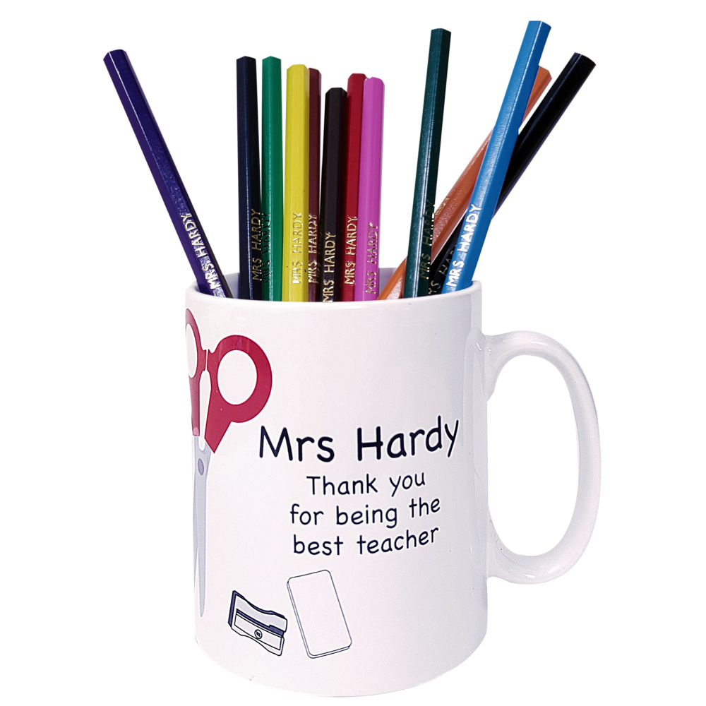 Teacher mug with pencils