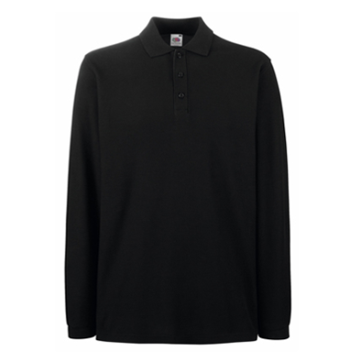 Fruit of the loom long sleeve pique polo shirt black 1975 278