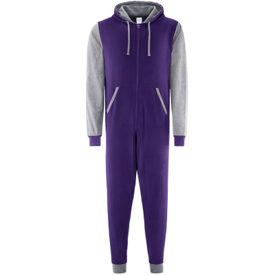 Xs purpleheather grey comfy co adults unisex two tone contrast all in one onesie