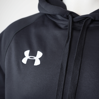 Men's armour fleece hoodie   black detail