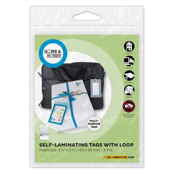 Multi Purpose Self Laminating Tags with Loops