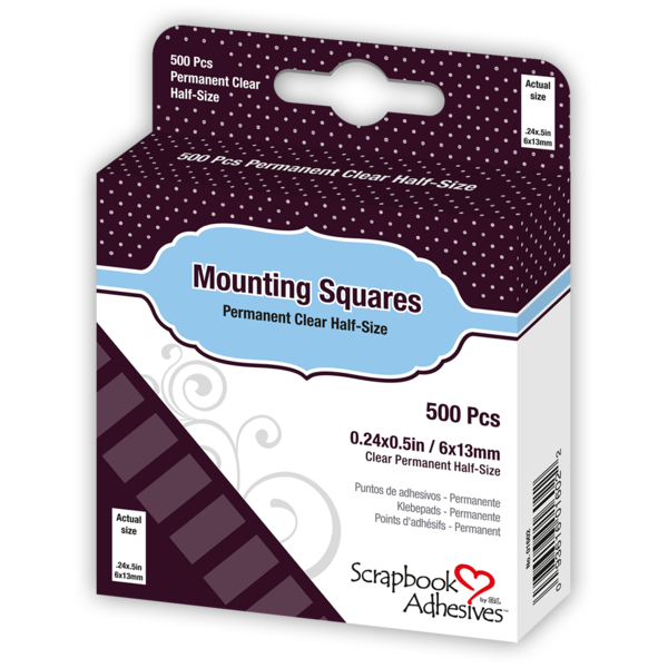 SCRAPBOOK ADHESIVES 500 Clear Mounting Squares Permanent Clear 3L 01602 New