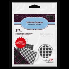 3D Foam Squares Black Mixed Sizes 01615