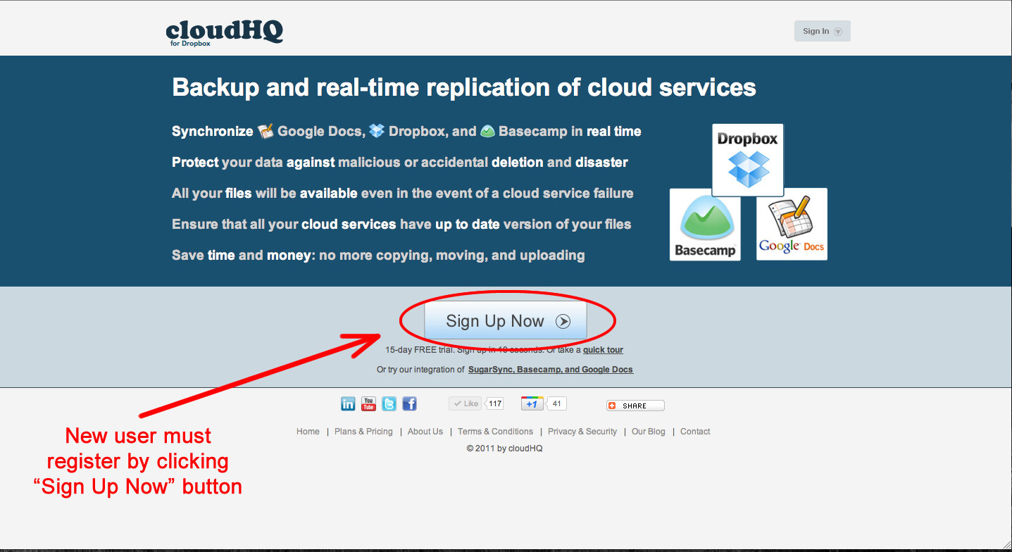 Sign up to CloudHQ