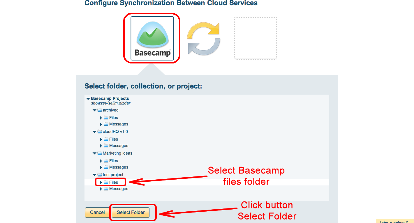 Select Basecamp project files or messages