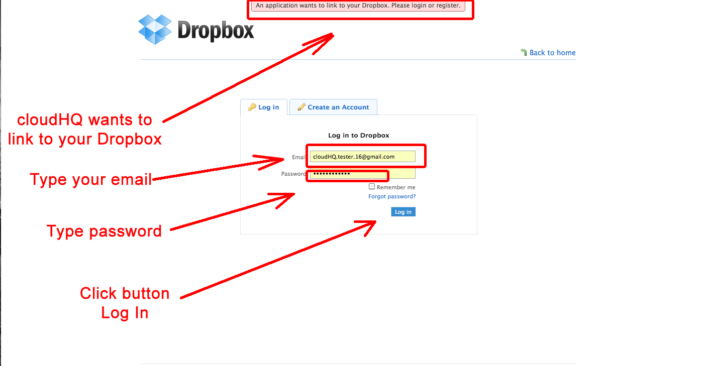 Link to Dropbox account