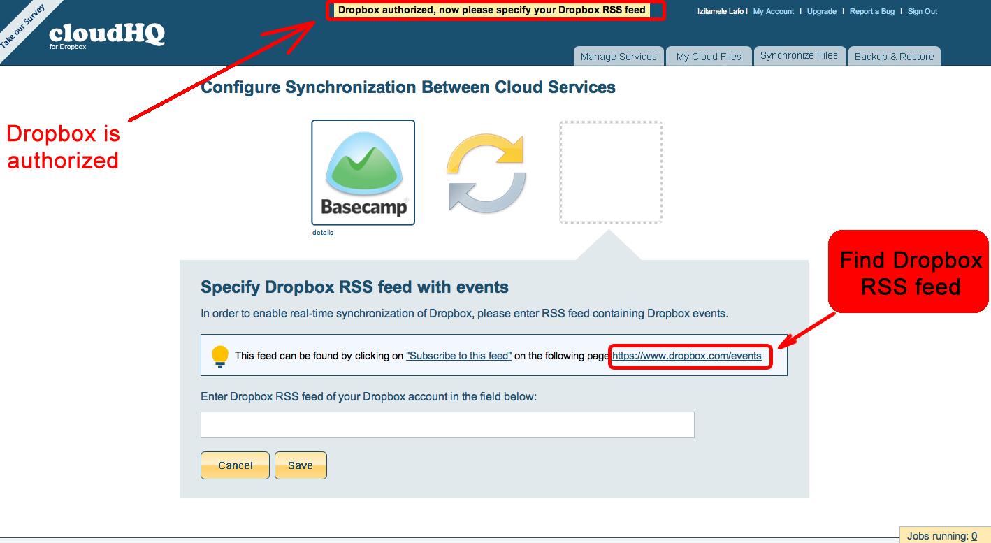 Dropbox authorized - specify RSS feed