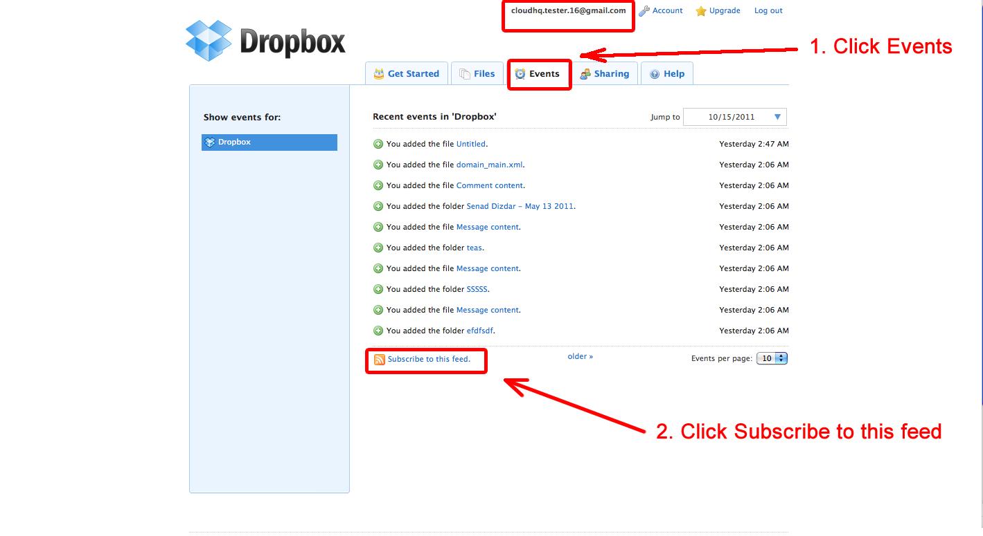 Dropbox menu Events