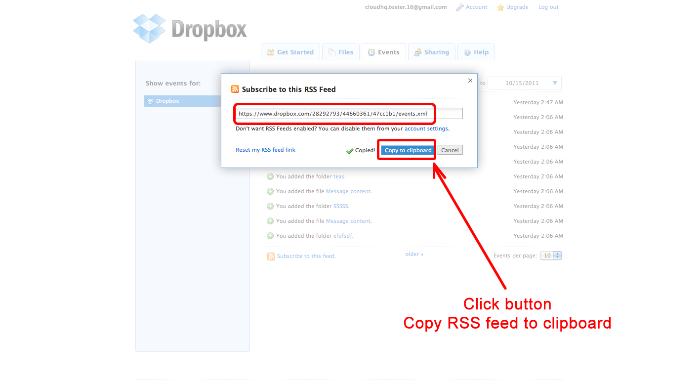 Subscribe Dropbox RSS feed