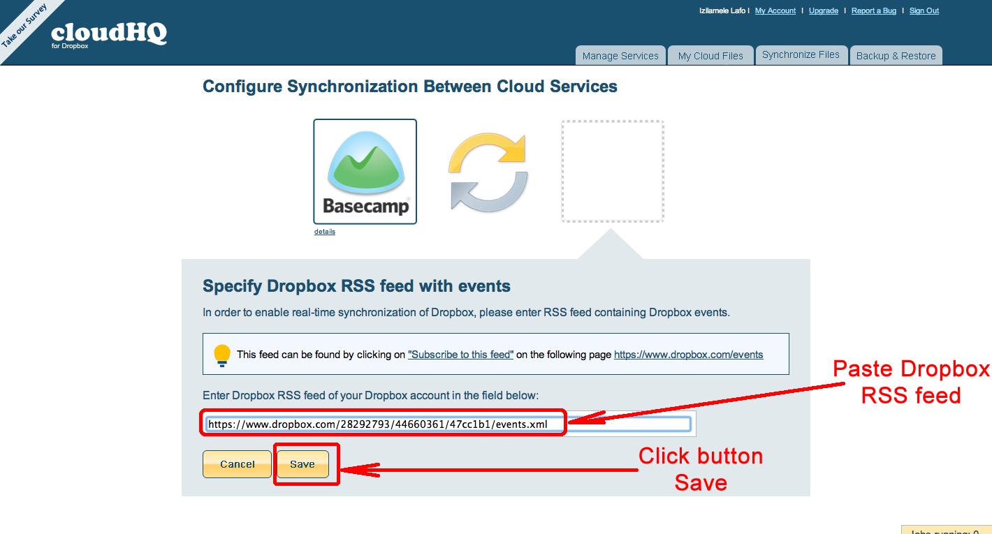 Add Dropbox RSS feed to cloudHQ