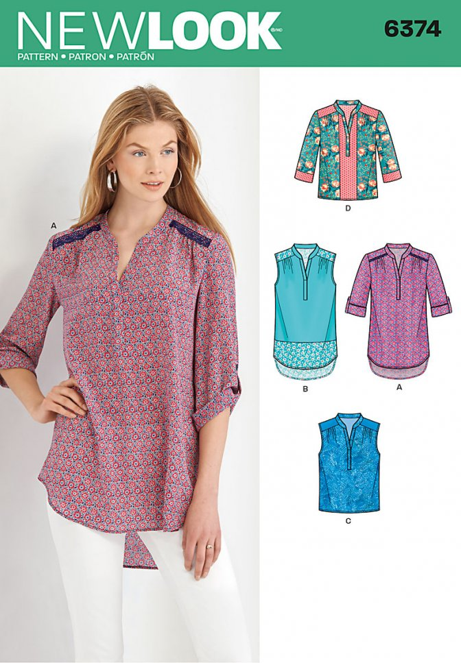 New Look 6374 | Sewing Patterns | Misses\' Shirts - Sewcratic