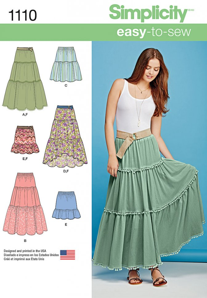 Simplicity 1110 Easy Sewing Patterns Misses Skirts