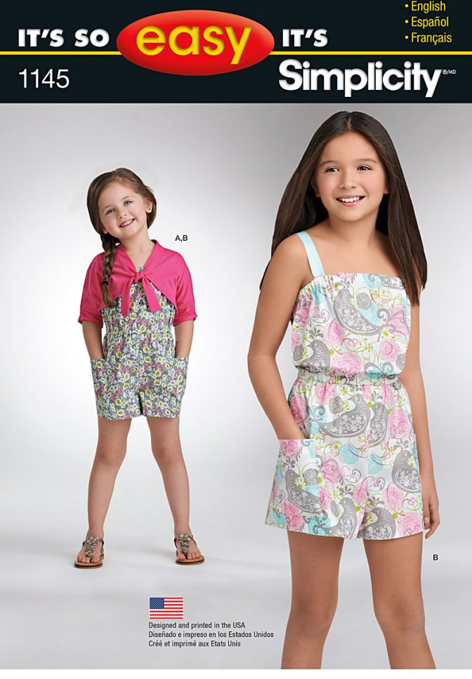 Simplicity 1145   Easy Sewing Patterns   Girls\' Rompers - Sewcratic