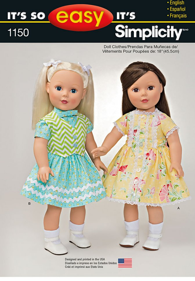 Simplicity 1150 | Easy Sewing Pattern | Doll\'s Dresses - Sewcratic