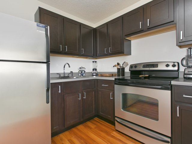 Presidential-towers-chicago-il-modern-kitchens-with-clean-steel-applian