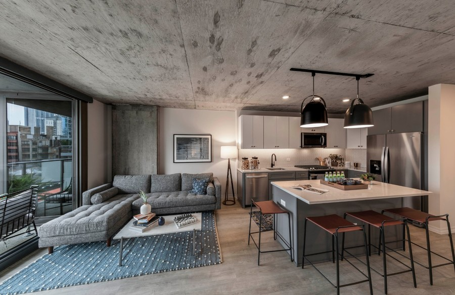 Kitchen-living-room-model-one-bedroom-full-view-grey-sectional