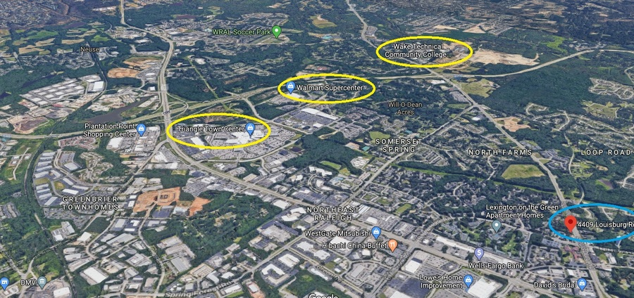 4409 louisburg  triangle towne mall labeled