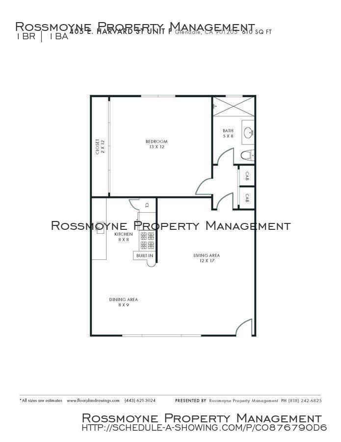 405 e. harvard f  floor plan 610 sq.ft.