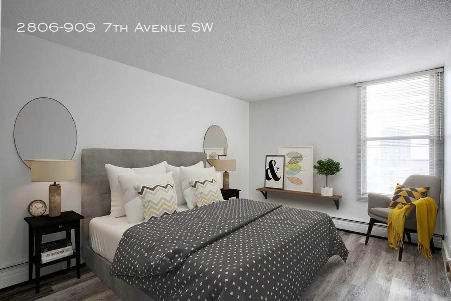 Grey furnished bedroom