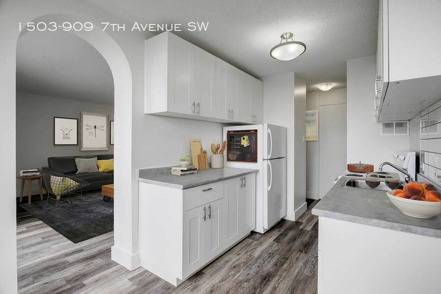 Grey furnished kitchen and partial view of living room