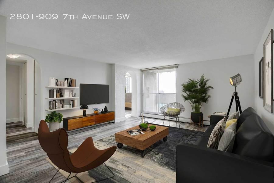 Grey furnished living room