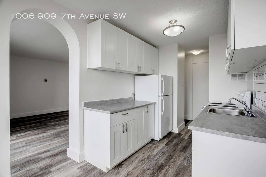 Grey kitchen with partial view of living room
