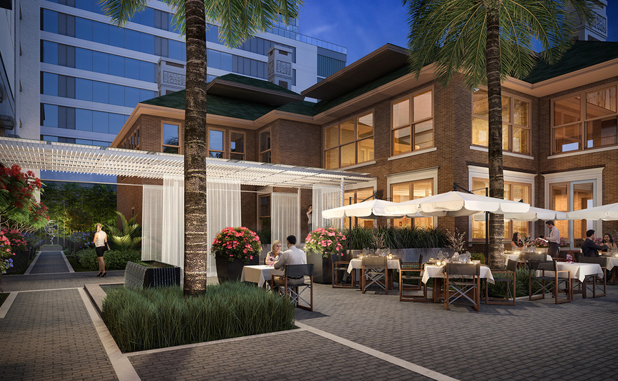 The residences gallery outdoor lounge