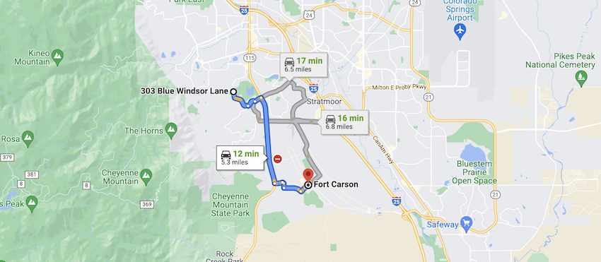 Map to ft carson