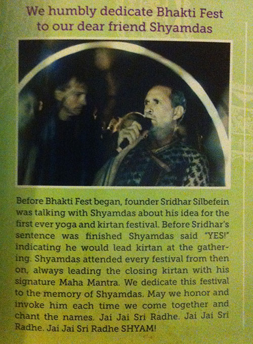 Bhakti Fest Dedication