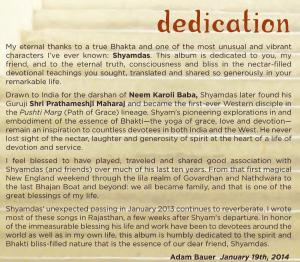 """Adam Bauer's """"Shyam Lila"""" Dedication"""