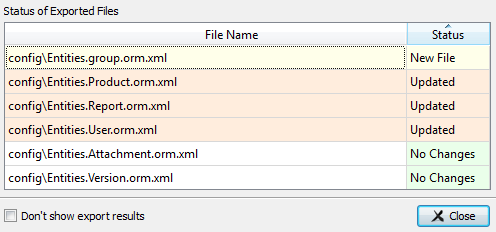 Skipper ORM schema definition files export result