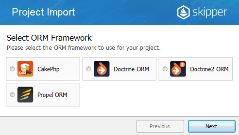 Skipper ORM schema definition files import wizard