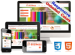 (DNN5/6/7) Unlimited Colors Business Responsive Skin Pack 024 with DNN Gallery/Blog/Page Template